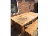 Solid pine rustic kitchen/dining table