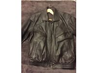 Brown real leather jacket - size S men's