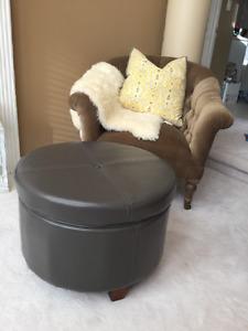 New!! Grey Ottoman with Storage