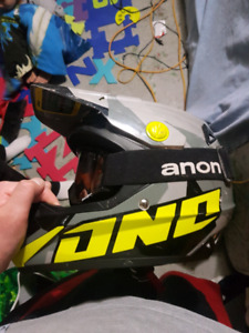 One skidoo helmet and anon goggles