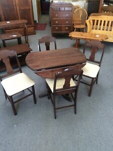 Hand crafted drop leaf table + 4 chairs