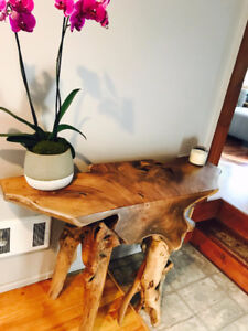 Table console bois massif d'Indonésie / Console Table raw wood