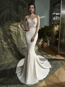 Blue by Enzoani Karter Wedding Dress, Size 6 (incl. veil + belt)
