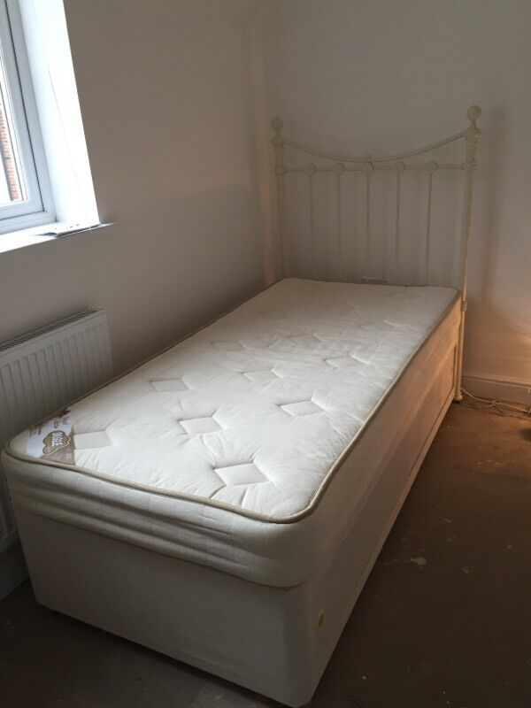 Single divan bed with mattress and headboard in drayton for Single divan with drawers and headboard