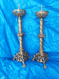 Vintage gothic pricket brass candlesticks...circa 1900