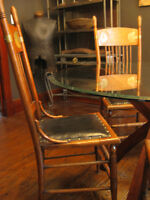 Vintage Antique Rare1880 Dining Chairs, Oak wood, leather, brass