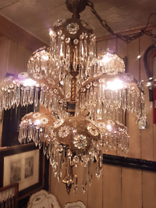 Nine-Arm Art Deco Hollywood Regency Chandelier
