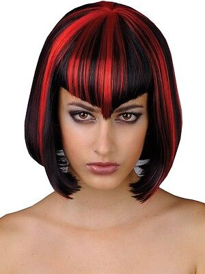 Ladies Black Red Vamp Short Vampiress Vampire Witch Wig Fancy Dress Halloween - Vampiress Wigs