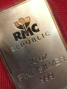 10 oz Republic Metals Corporation Fine Silver 999 Minted Bar