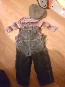 12 months fleece overall set with hat