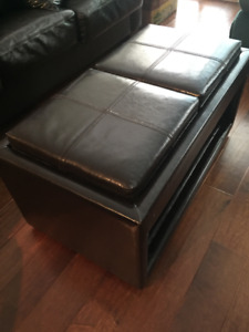 Dark Espresso Leather Coffee Table  with 2-Reversible Trays