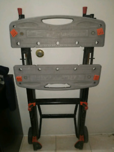 grey and black Black and Decker folding table