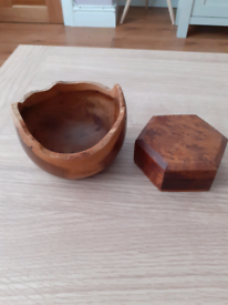 Wooden box and bowl