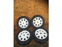 "MINI ""15"" WHITE ALLOY WHEEL AND TYRES"