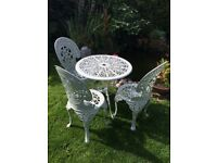 Pale Green Garden Metal Table and 3 Chairs