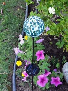 2 x Solar Powered Mosaic Glass Blue Ball Color Changing Light Athelstone Campbelltown Area Preview
