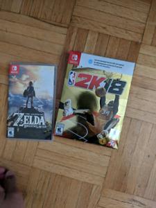 Zelda, NBA 2k18 Switch + uncharted 4 ps4