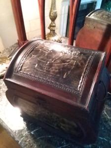 Antique copper and wood chest unique