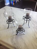 3 Set of Candles & Candle Holders