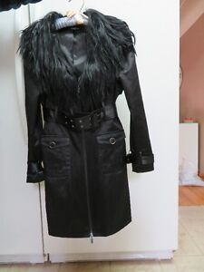 Brand New Bebe Trench Coat with Faux Fur Detachable Collar