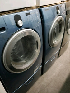 SAMSUNG WASHER & DRYER PAIR W/ PEDESTALS