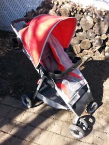 Poussette pour bebe,pousette pour enfant,pousette rouge et grise