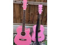 2 X girls pink guitars
