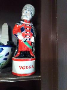 Antique vintage Italian sold Vodka Bottle remova head cork 1930s
