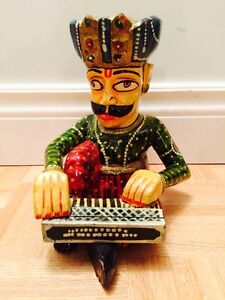 Multi-Coloured Painted Wooden Hand Carved Musician Playing Piano