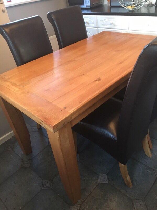Oak tablein Tuebrook, MerseysideGumtree - Oak table solid oak table plus 4 free chairs buyer must collect