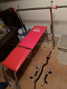 Weight Bench, Bars and Cast Iron Weights for sale