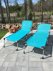 2 aluminum frame chaise lounge