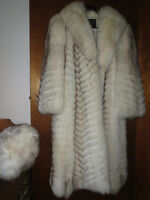 Full length Norwegian Blue Fox fur coat and matching hat