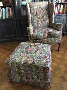 Beautiful wing back chair and ottoman