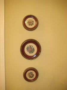 3 exquisite, rare Antique petit-point framed tapestry Pictures