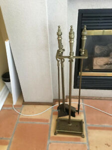 fireplace tool set solid brass