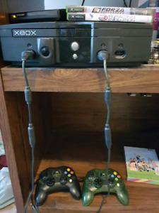 Original Xbox 2games + 2 controllers $60 or best offer