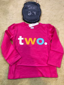 """Brand New Super cute long sleeve top """"TWO"""" - NWT - 2T"""