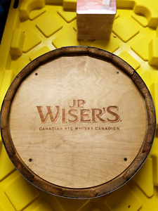 Drink tray- JP Wiser's barrel tray w/ brand new coaster stacks