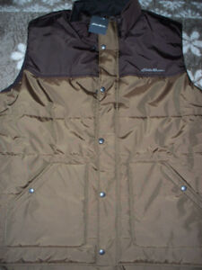 New Eddie Bauer Nylon vest with corduroy trim on inside lining