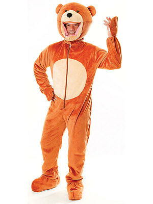 Adult Teddy Bear Big Head Animal New Fancy Dress Costume Jumpsuit Mens Ladies ()