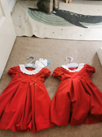 Red collared velvet dresses