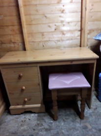 Pine dressing table and matching stool £40