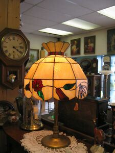 Lead Glass Shade Brass Kamp -- FROM PAST TIMES Antiques & Coll