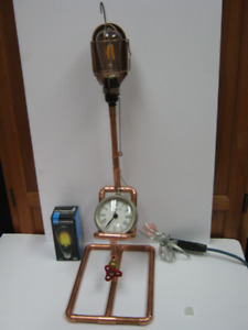lamp made from copper pipe with clock. price firm.