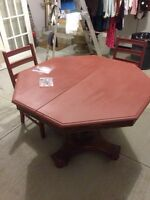 Dark Red Painted Dining Table with Chairs