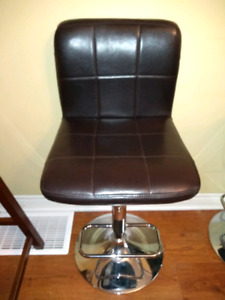 2 Chocolate Brown Faux Leather Stools from Bouclair Home