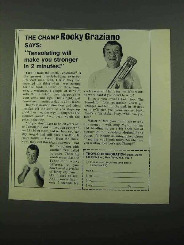 1969 Thoylo Tensolator Exercise Ad - Rocky Graziano