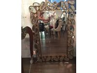 REDUCED Large golden pebble effect frame mirror