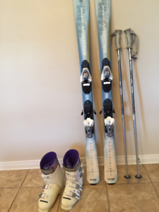 Salomon skis + bindings + Lange ski boots + ski bag